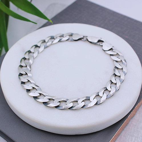 Sterling Silver Solid Mens Oxidised Curb Bracelet