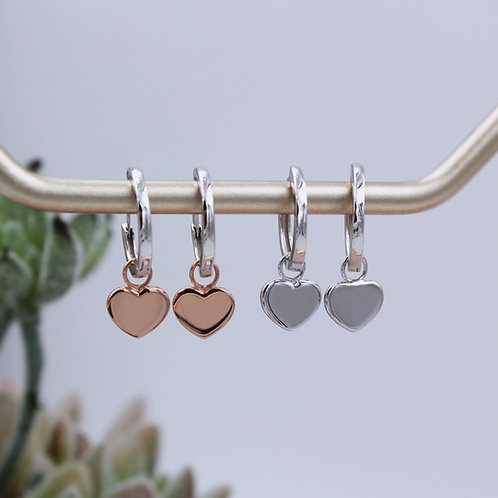 Sterling silver and 18ct Rose Gold Vermeil plain Heart on a Huggie Hoop