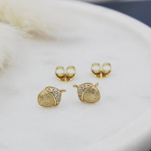 Small Gold plated & cubic zirconia Acorn Stud Earrings