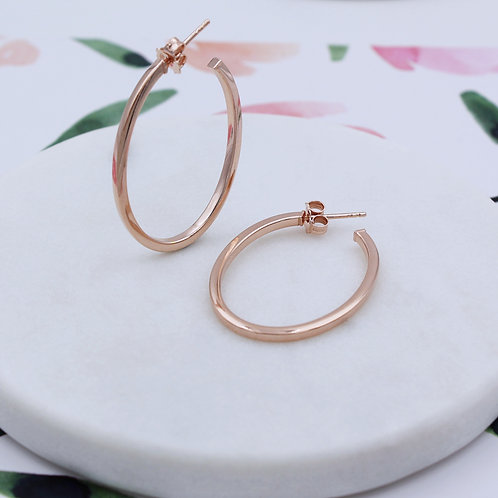 18ct Rose Gold Vermeil Oval Hoop Earrings