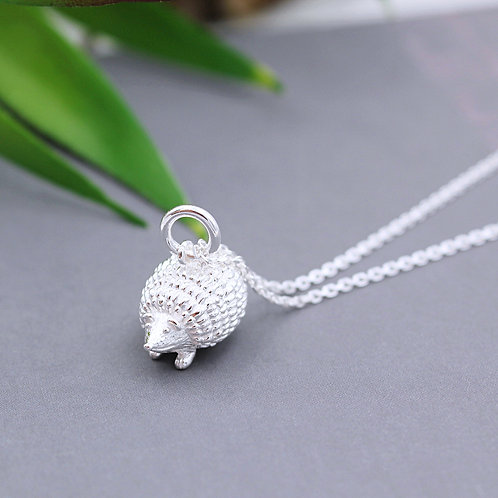 Solid Sterling Silver Hedgehog Necklace