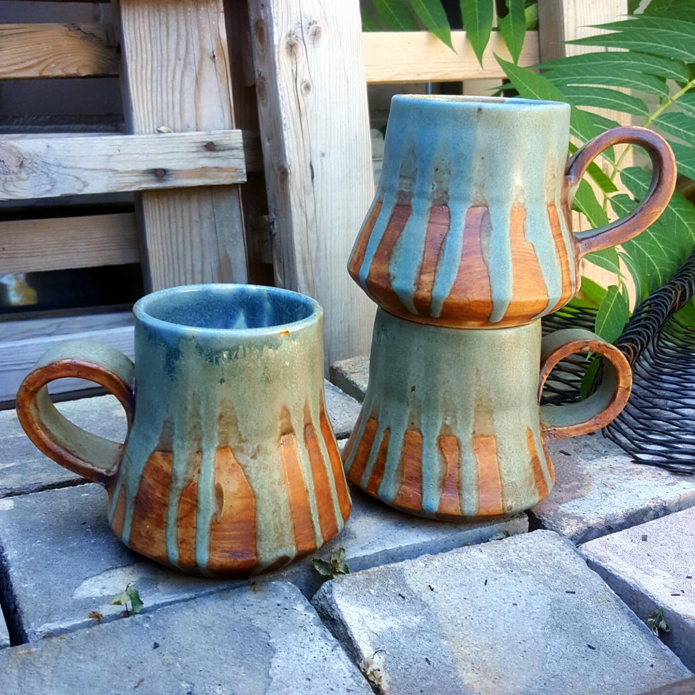 turquoise drip mugs