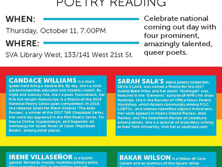October 11: National Coming Out Day Poetry Reading @the School of Visual Arts' Library West