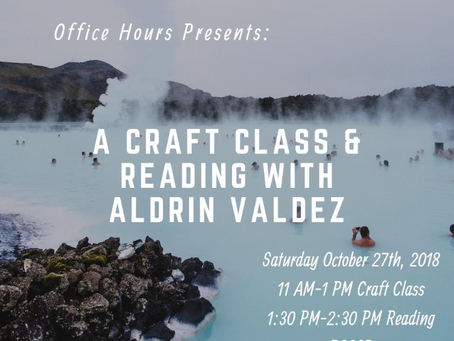 October 27: Office Hours Poetry Reading with Aldrin Valdez, Irene Villaseñor, and Marty Correia
