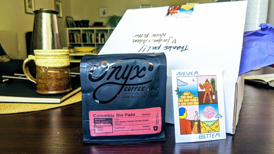 Onyx Coffee bag, beautifully packaged & delivered by Winnipeg's Never Better Coffee