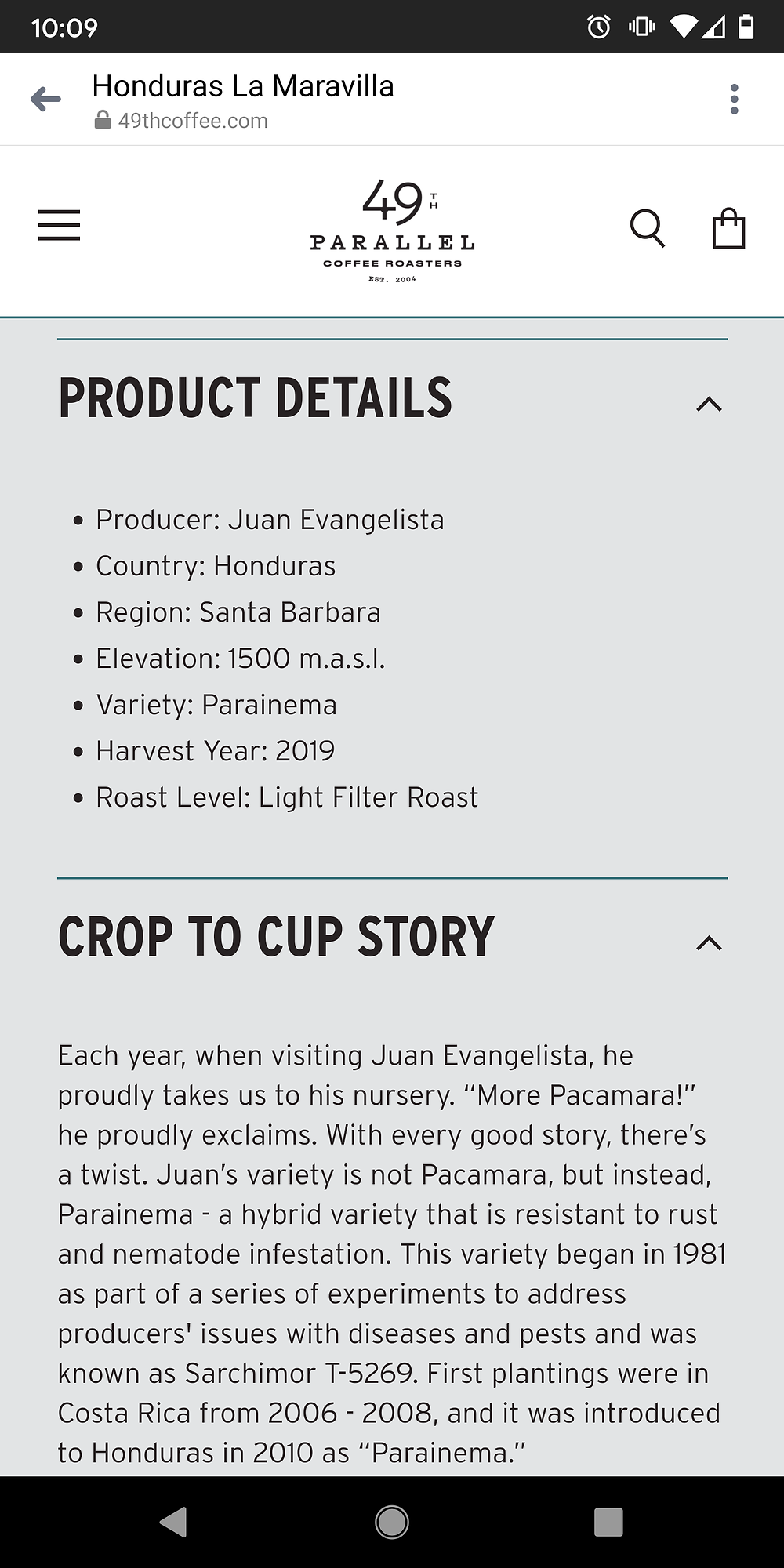 Screenshot of 49th Parallel Product Description page with a bullet pointed product description, and a well written product Story