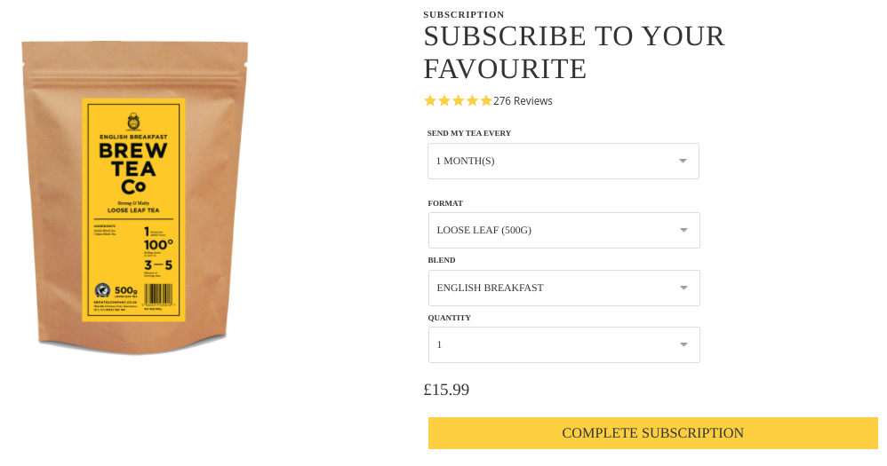 Brew Tea Co Subscription Product Page Screenshot