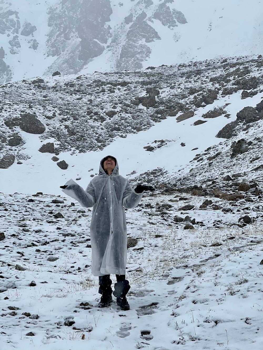 Snow Hike Rain Poncho Ala Kul Kyrgyzstan
