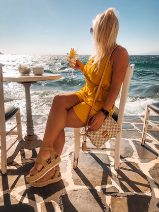 Cocktails in Mykonos by the sea