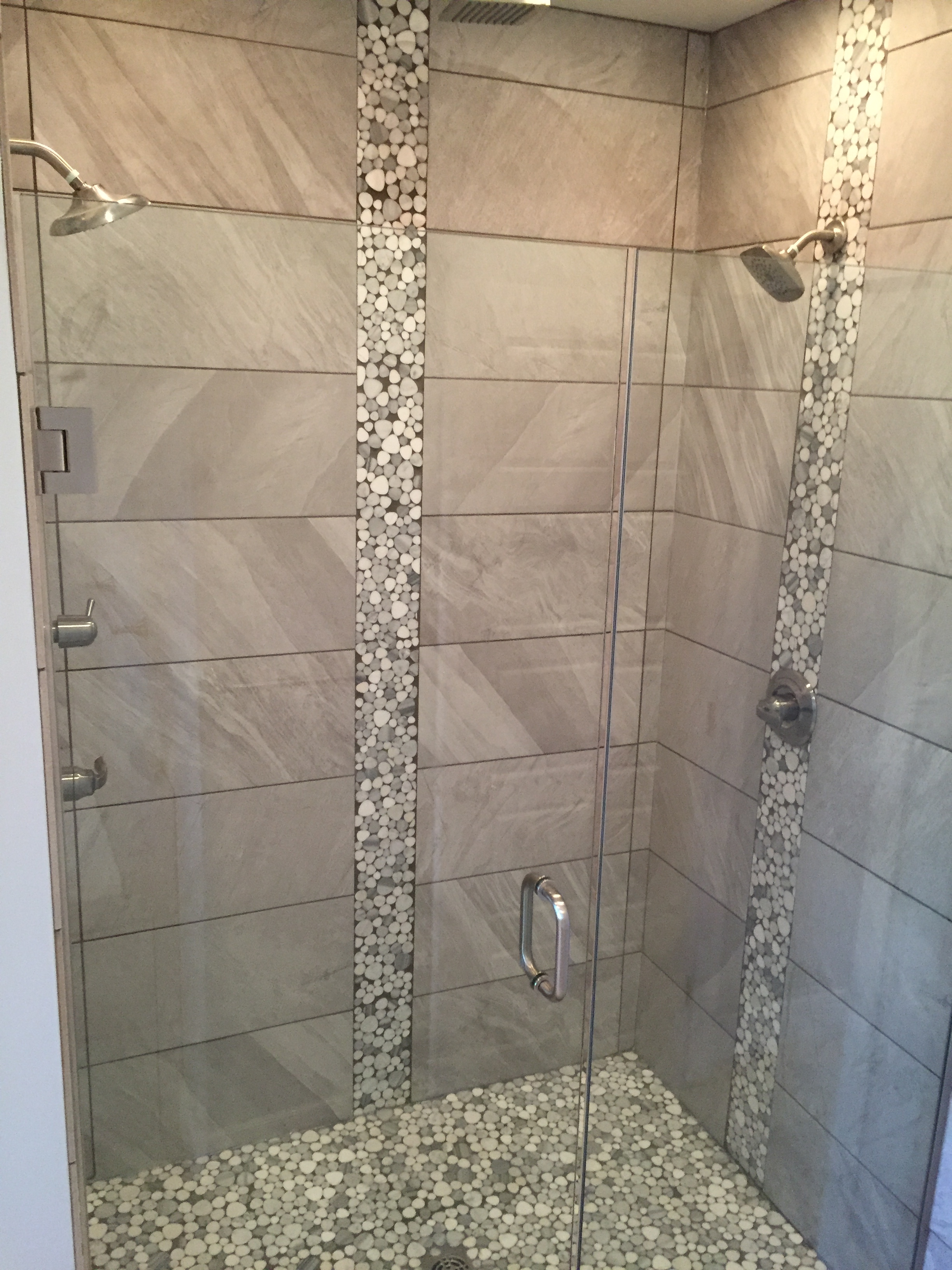Tile Shower with Dual Shower Heads