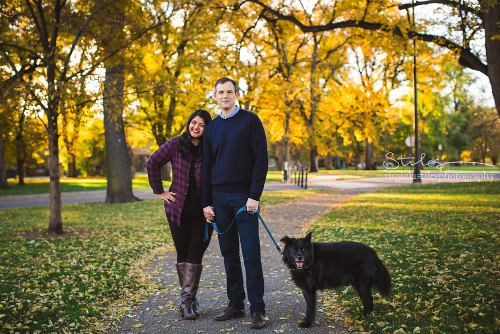 Hetal Doshi with her husband, Andrew Sinclair, and their dog, Cole.