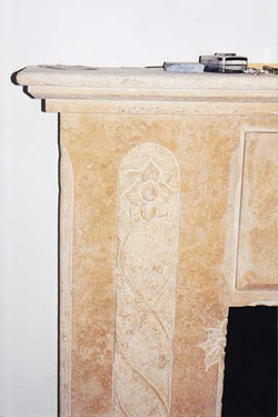 Travertine Mantel Detail