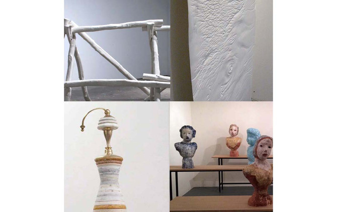 earth, earth, a four-person sculpture exhibition of artists using porcelain, clay, stone, marble and
