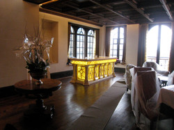 view of the room with the bar