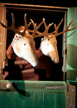 Father Christmas and reindeers in the north pole