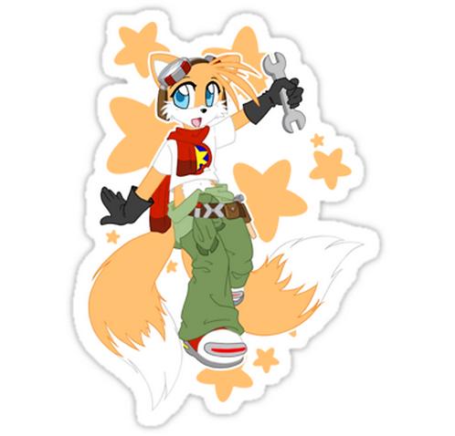 SRBB1158 Tails Remix Car Window Decal Sticker anime