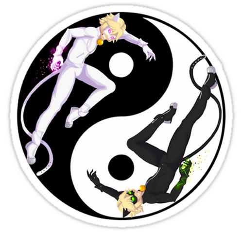 "SRBB1767 Chat Noir and Chat Blanc ""Yin and Yang"" Car Window Decal Sticker  anime"