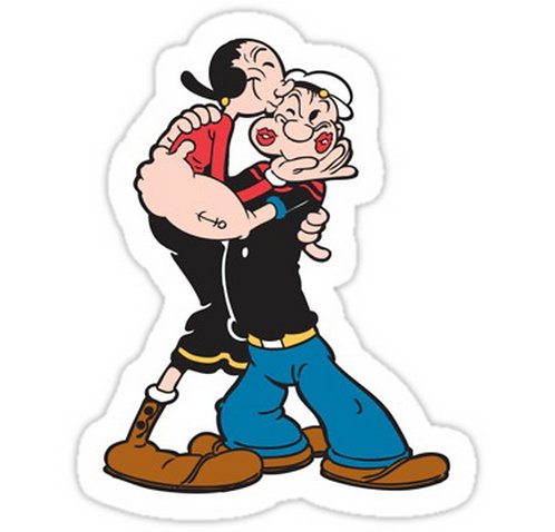 SRBB0458 Popeye and Olive are the Best! Car Window Decal Sticker anime