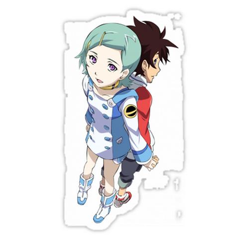 SRBB1237 Eureka Seven Couple Holding Hands Car Window Decal Sticker anime