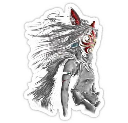 SRBB0022 Mononoke Wolf Anime Tra Digital Painting Car Decal Sticker