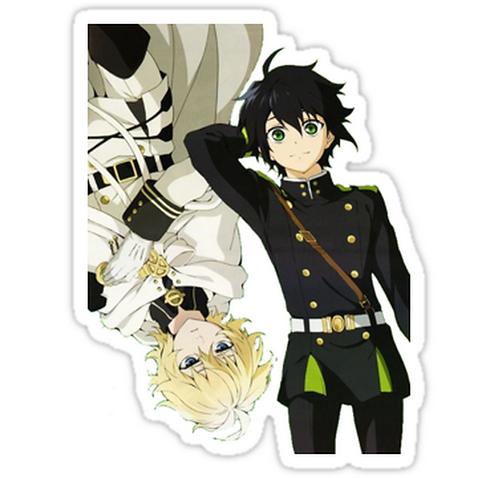 SRBB1140 Owari No Seraph-Mika and Yu Car Window Decal Sticker anime