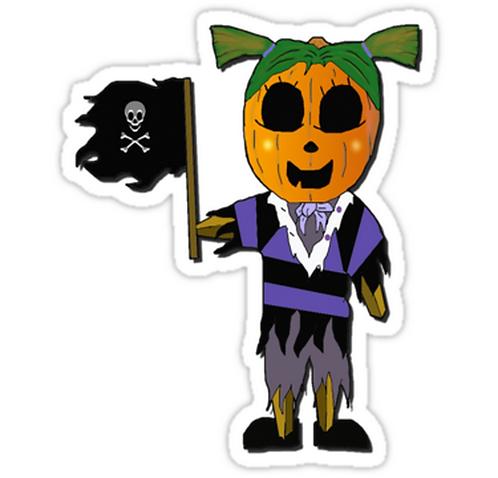 SRBB1159 Pirate Pumpkin Girl Car Window Decal Sticker anime