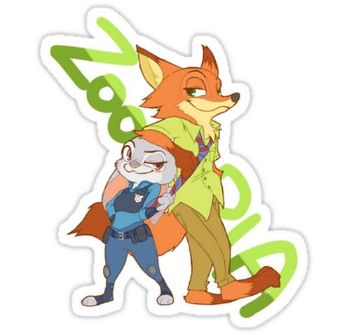 SRBB1464Zootopia anime sticker