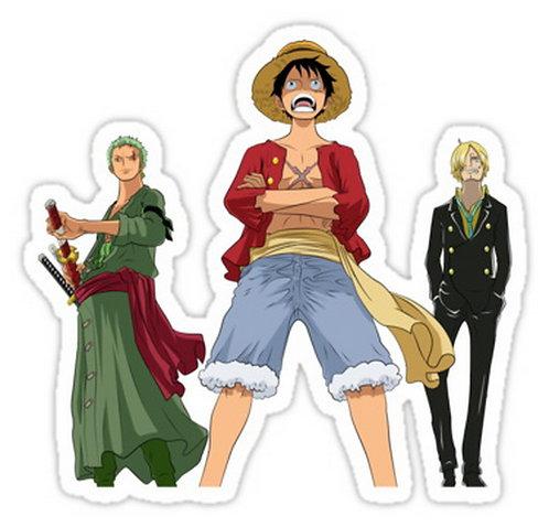 SRBB0409one piece straw hats luffy zoro sanji anime manga shirt sticker