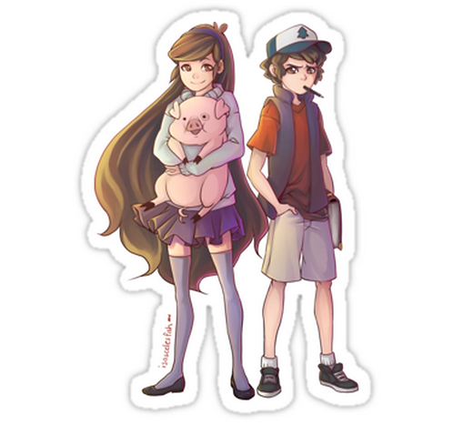 SRBB1456 Dipper and Mabel Pines Car Window Decal Sticker anime