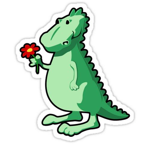 SRBB0797 Dino with a flower Car Window Decal Sticker anime