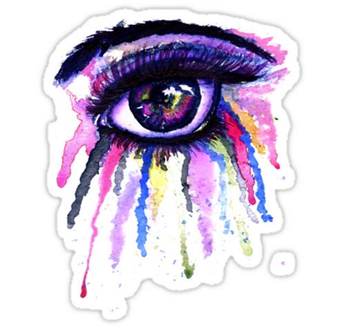SRBB1007 Watercolor Eye in Anime Stylegun Car Window Decal Sticker