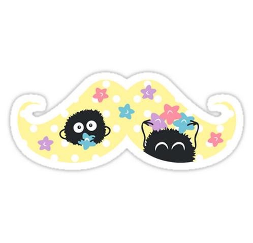 SRBB1436 Soot Sprites Mustache Car Window Decal Sticker anime