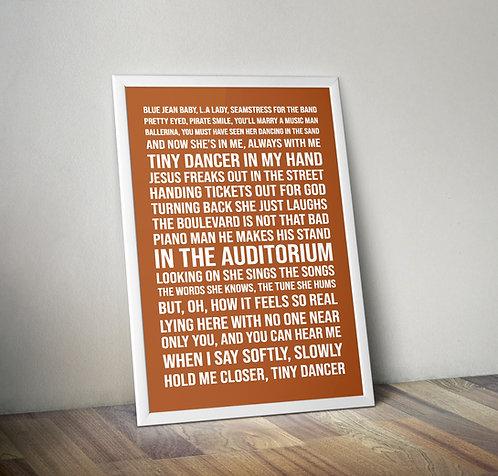 Elton John - Tiny dancer Typography Tribute