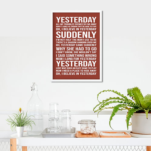 The Beatles - Yesterday Typography Tribute