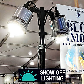 Powerful LED table clamp lights for trade show lighting.