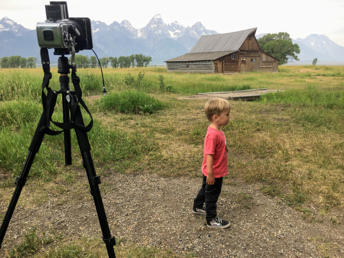 little boy and camera at mormon row