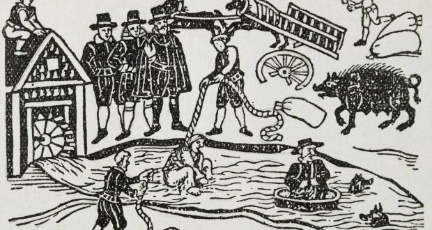 Water test used at part of witchcraft trials in the 17th century. Illustration from Ludicium aquae (trial by water), 1613 edition