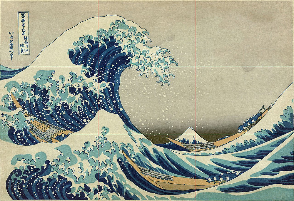 The Great Wave off Kanagawa - Hokusai - With Rule of Thirds grid overlay