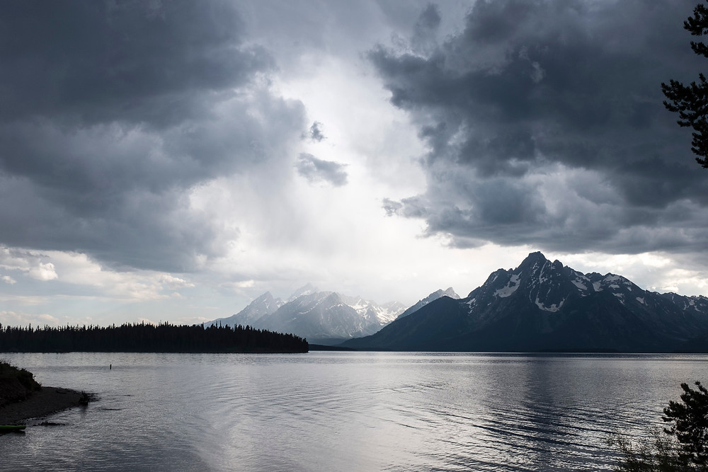 landscape photography dark clouds tetons mountains national park lake jackson