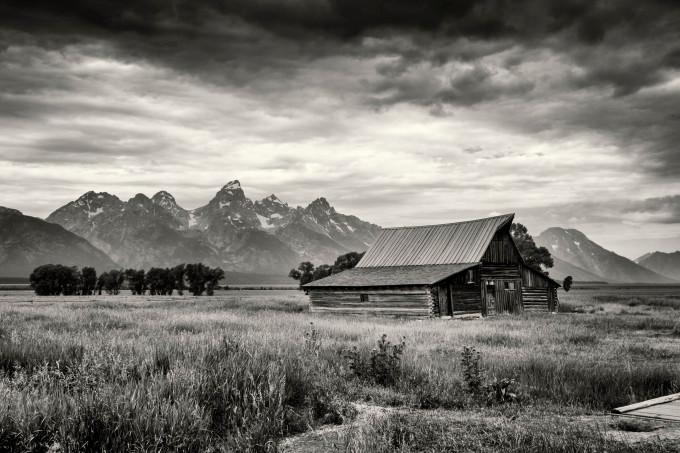 aj moulton barn grand tetons wyoming black and white