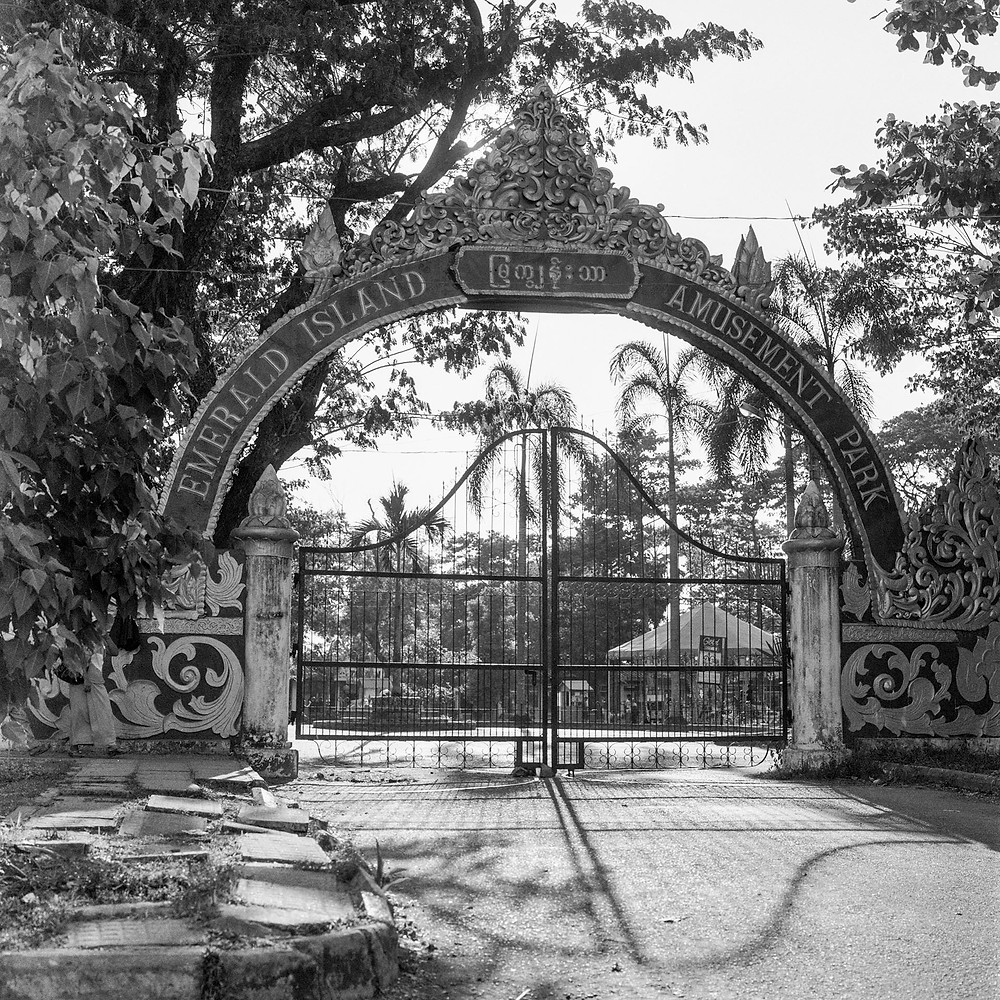 The entrance gates to the Emerald Island Amusement Park, Yangon, Myanmar