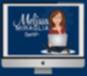 "Computer screen with woman sitting crosslegged and a laptop on her lap and the words ""Melissa Miraglia Design"" beside her."