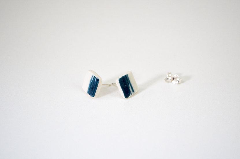 Square Teal Stud Earrings