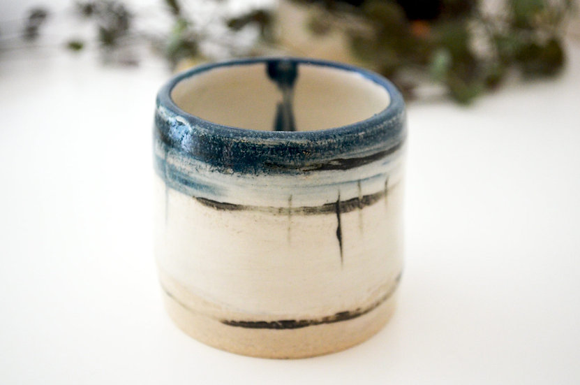 Small Blue Rimmed Vessel