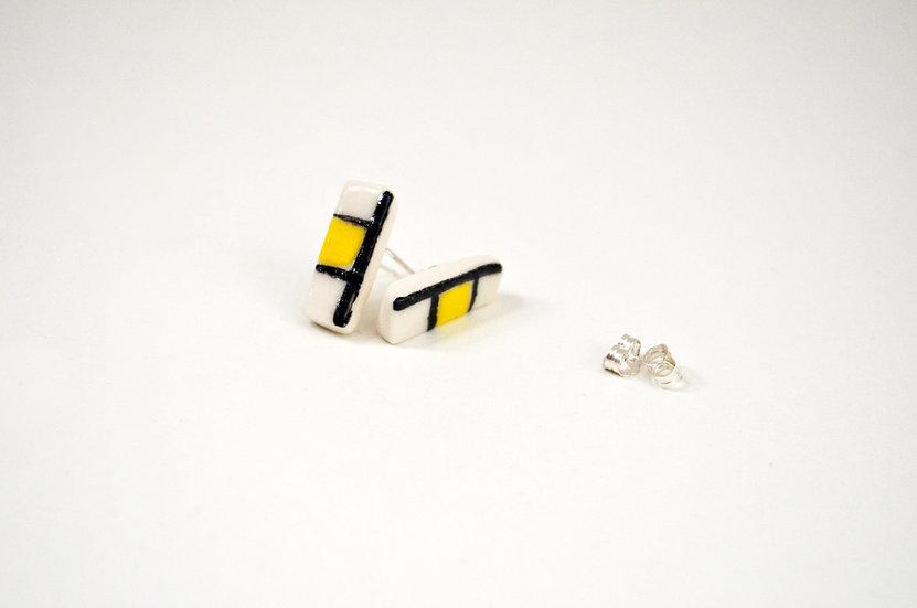Yellow Stud earrings - oblong