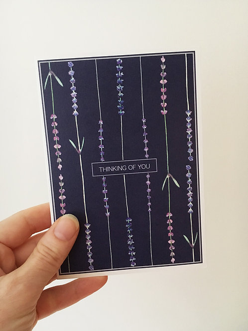Thinking of You Card, with envelope - Dark Lavender
