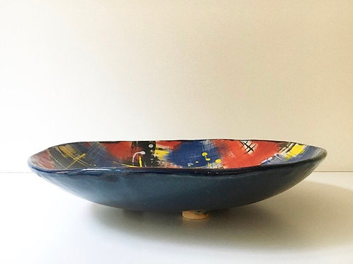 Extra Large multicoloured stoneware bowl