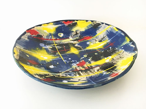 Extra Large multicoloured stoneware bowl - to commission