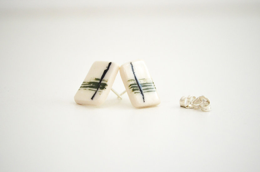 Olive and Black Telegraph Stud Earrings