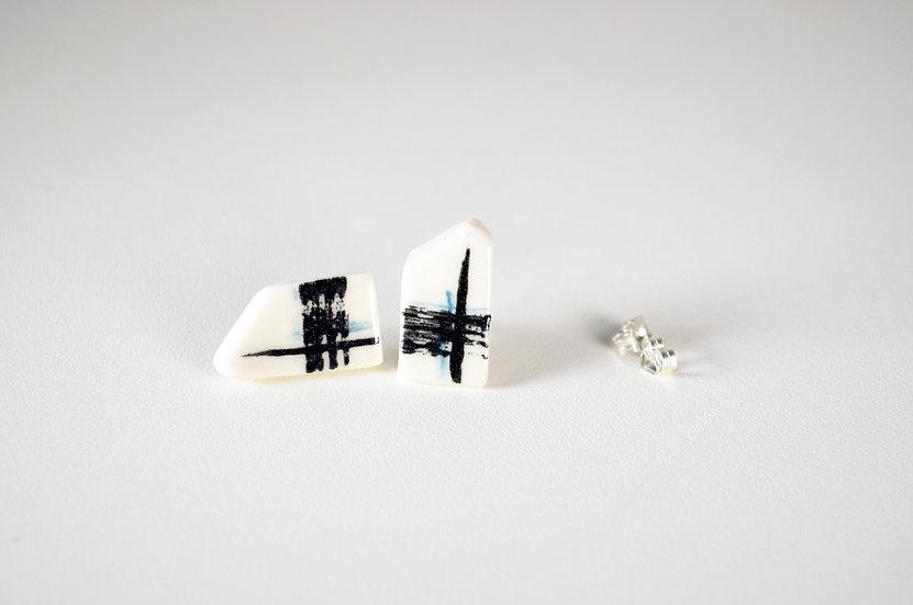 Black and Teal Stud Earrings